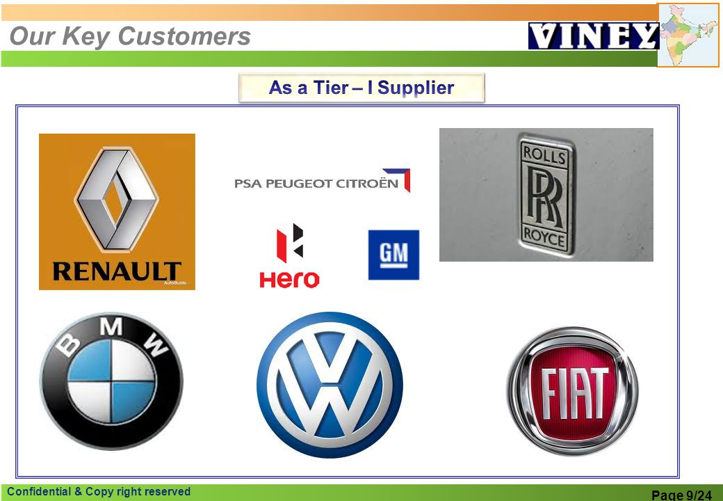 Our Key Customers As a Tier – I Supplier Page 9/24