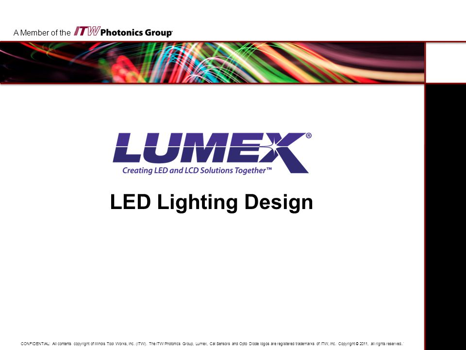 Title LED Lighting Design Date A Member of the