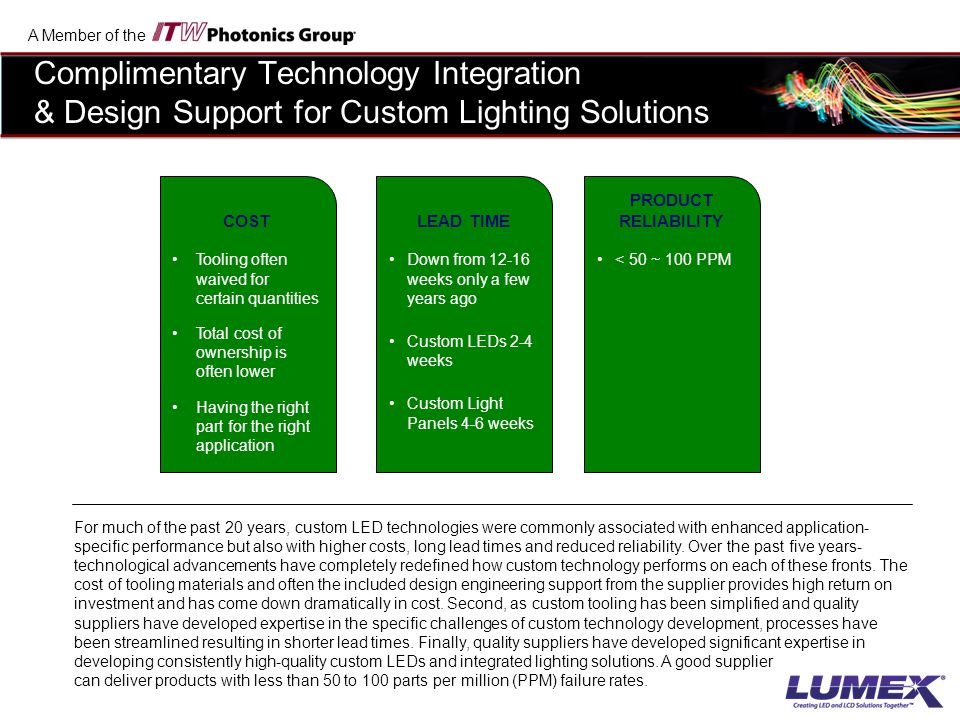 Complimentary Technology Integration & Design Support for Custom Lighting Solutions