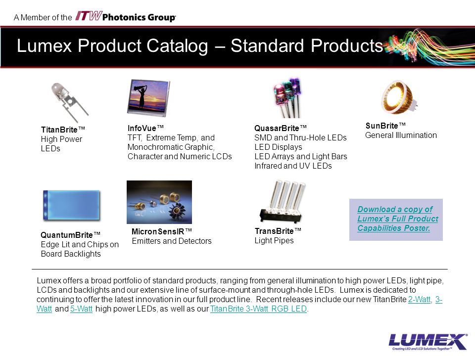 Lumex Product Catalog – Standard Products