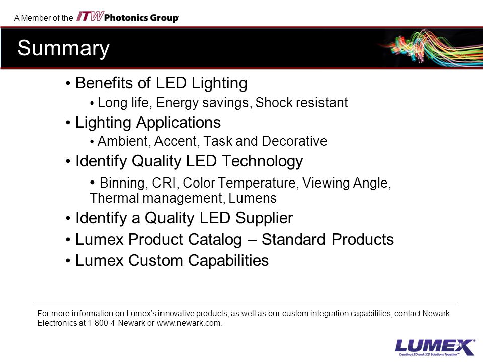 Summary Benefits of LED Lighting Lighting Applications