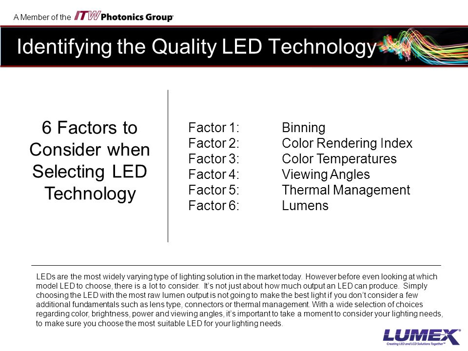 6 Factors to Consider when Selecting LED Technology
