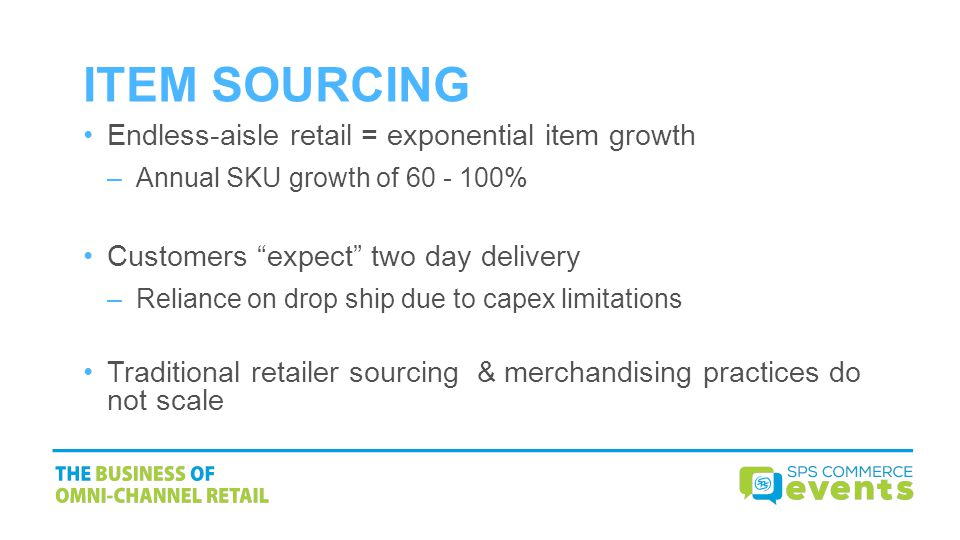 ITEM SOURCING Endless-aisle retail = exponential item growth