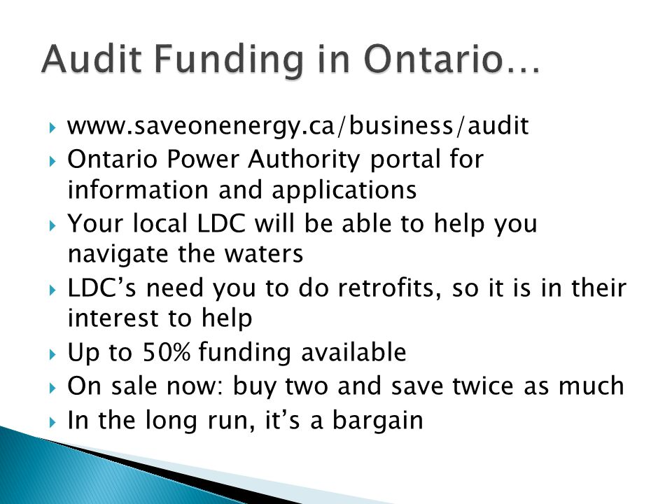 Audit Funding in Ontario…