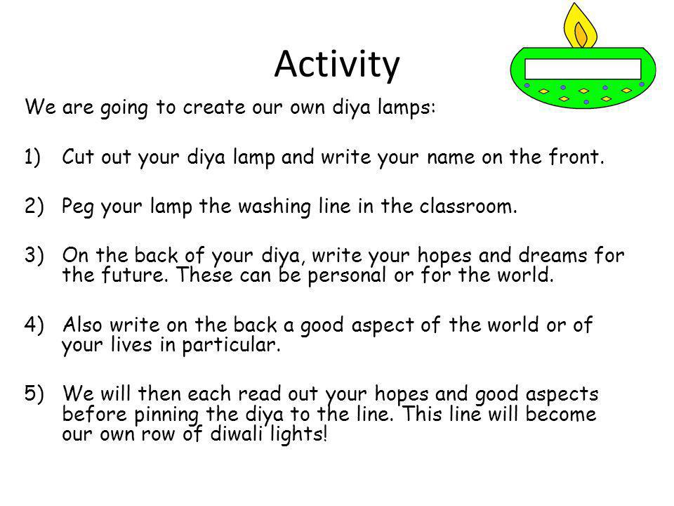 Activity We are going to create our own diya lamps: