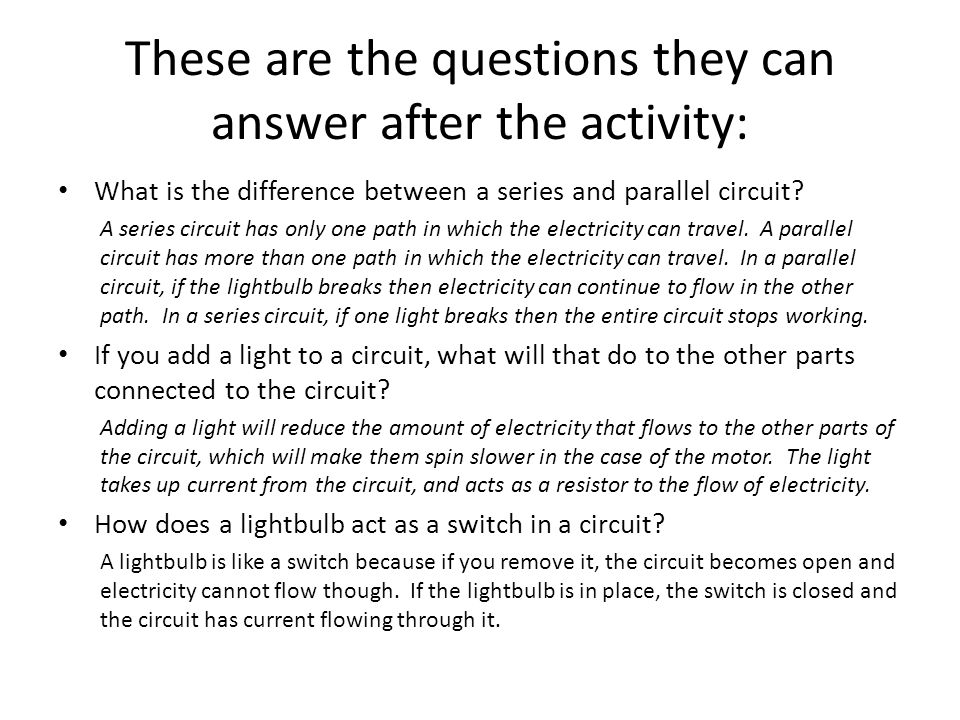 These are the questions they can answer after the activity: