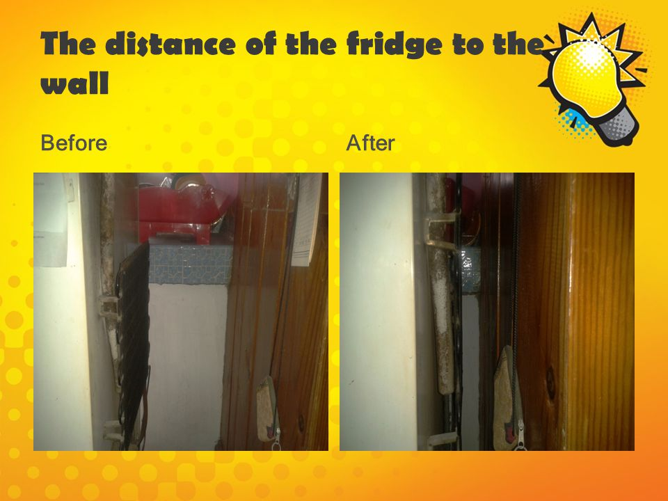 The distance of the fridge to the wall