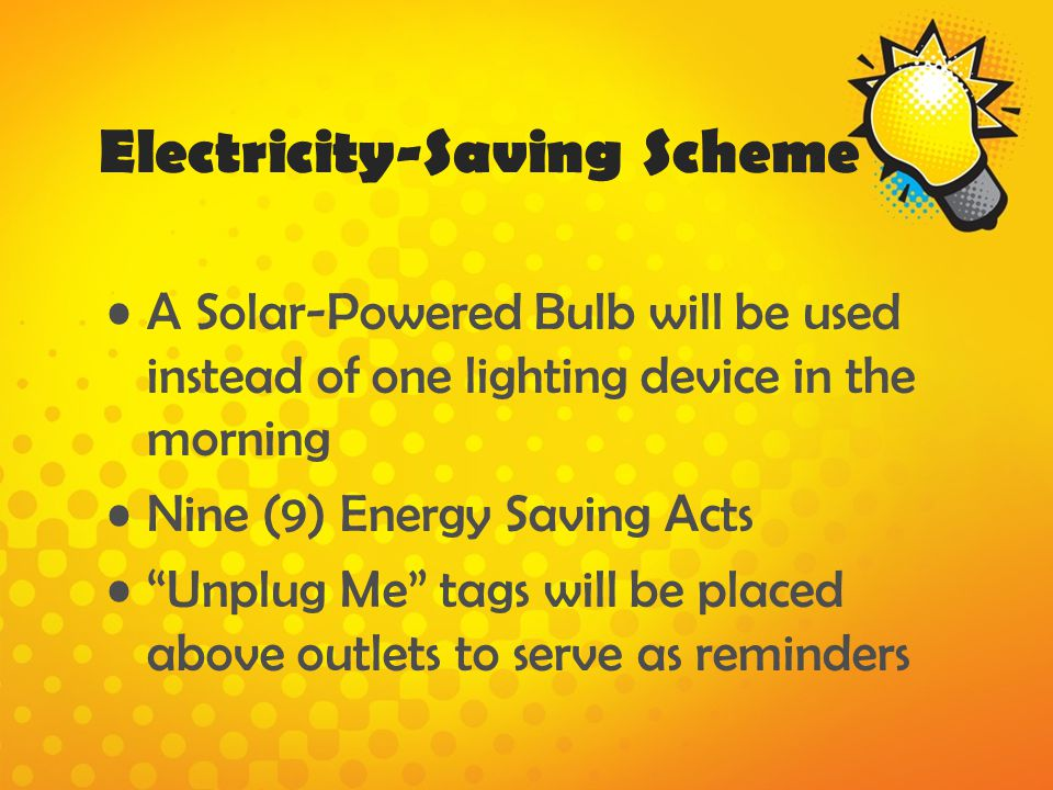 Electricity-Saving Scheme