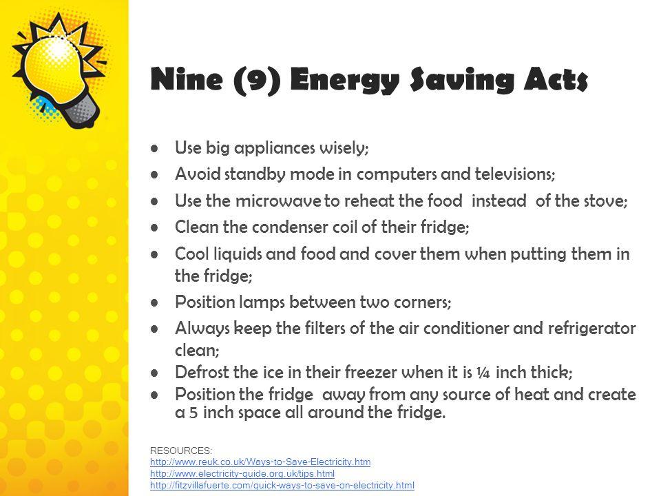 Nine (9) Energy Saving Acts