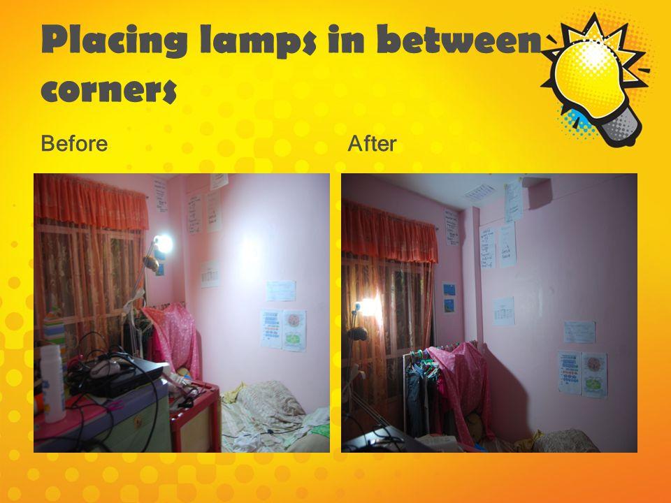 Placing lamps in between corners