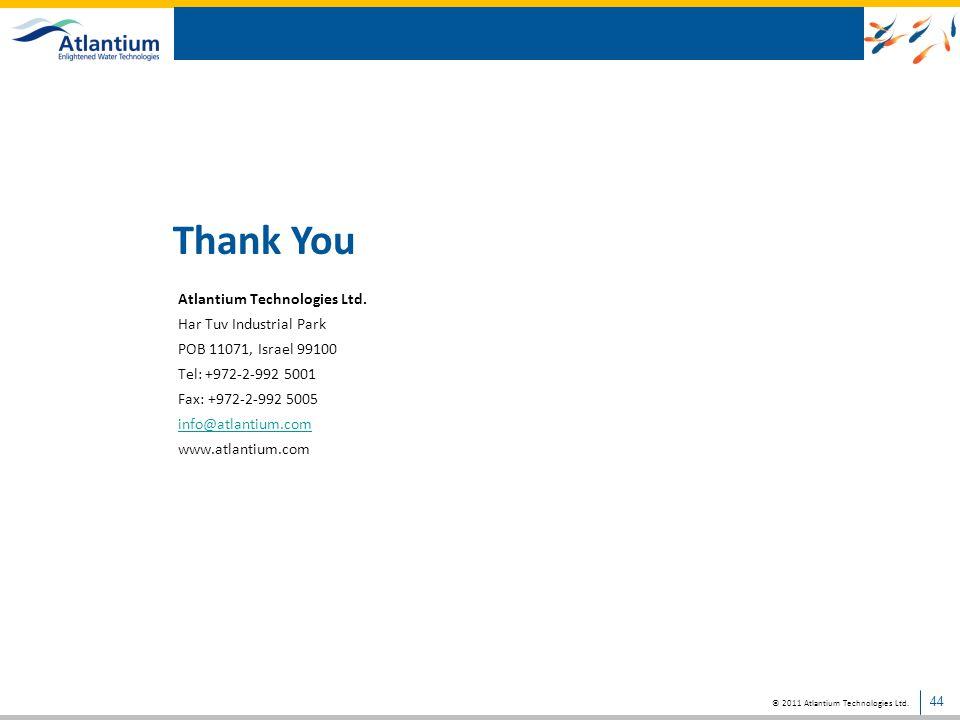 Thank You Atlantium Technologies Ltd. Har Tuv Industrial Park