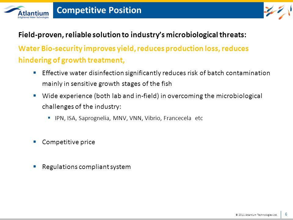 Competitive Position Field-proven, reliable solution to industry's microbiological threats: