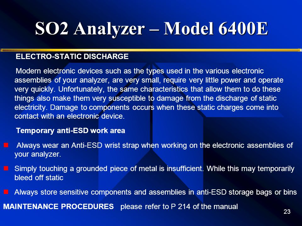SO2 Analyzer – Model 6400E ELECTRO-STATIC DISCHARGE