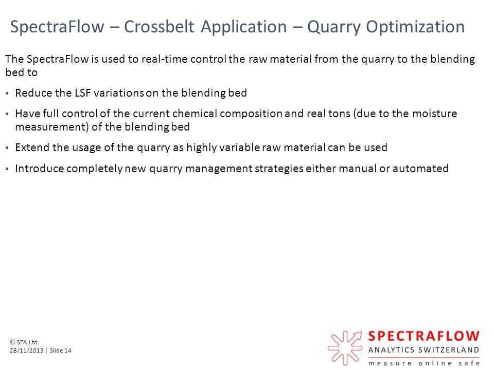 SpectraFlow – Crossbelt Application – Quarry Optimization