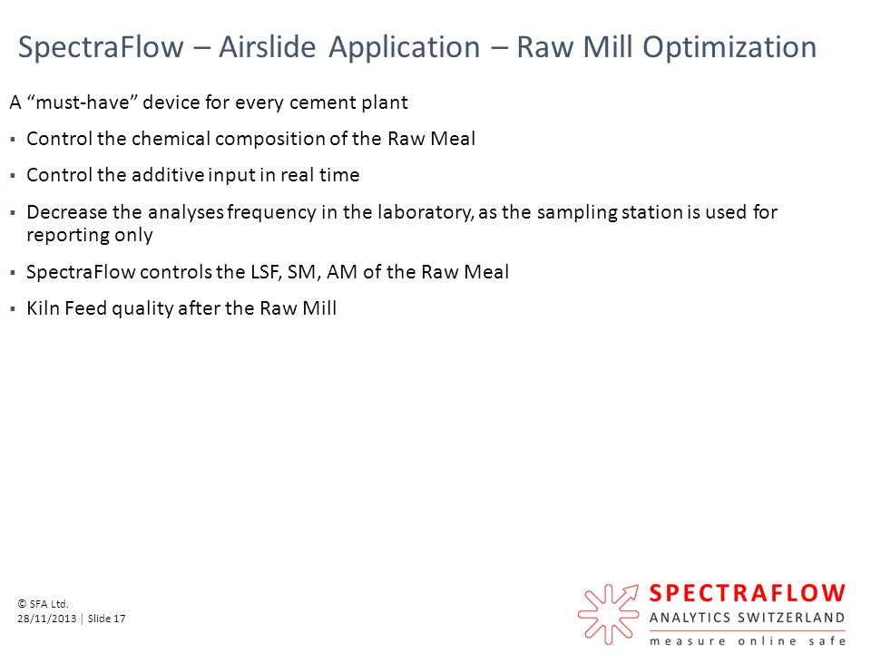 SpectraFlow – Airslide Application – Raw Mill Optimization