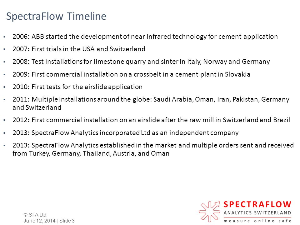 SpectraFlow Timeline 2006: ABB started the development of near infrared technology for cement application.