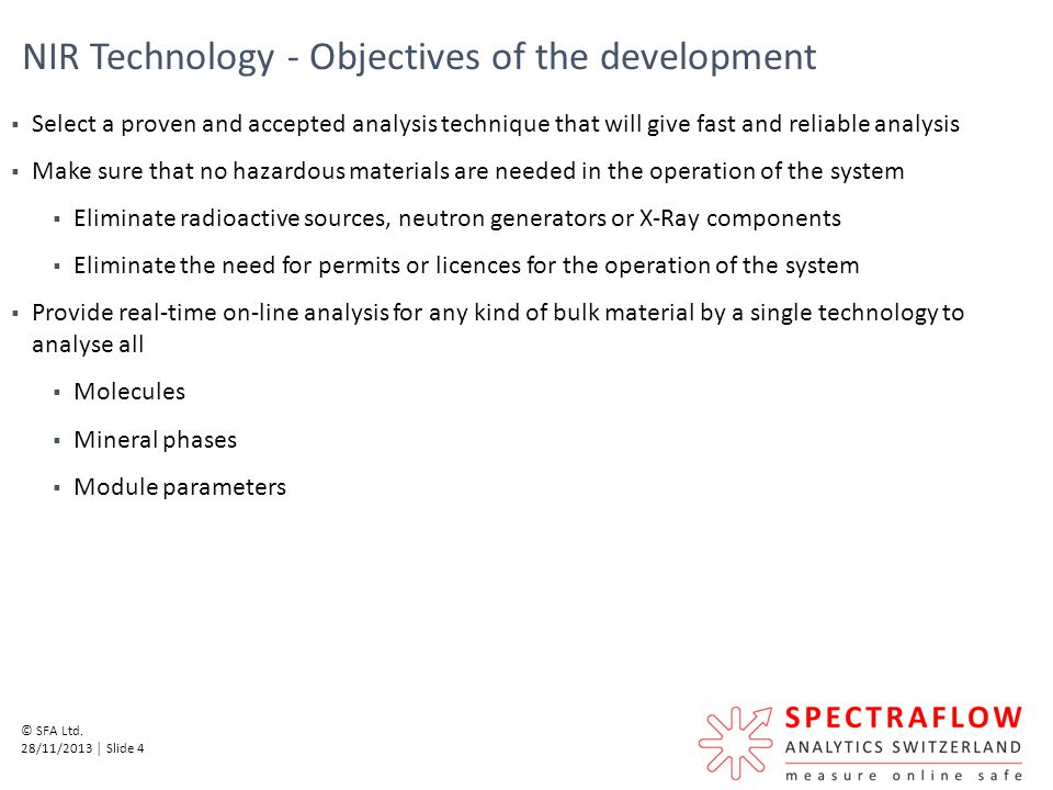NIR Technology - Objectives of the development