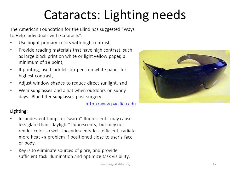 Cataracts: Lighting needs