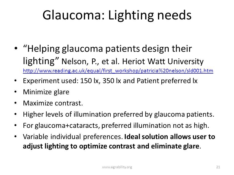Glaucoma: Lighting needs