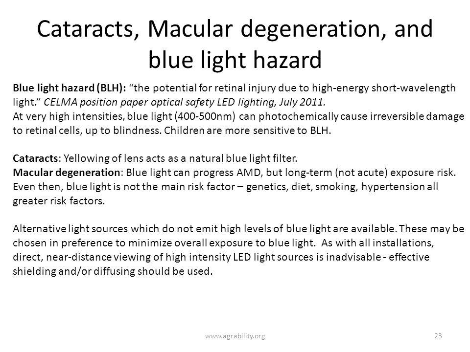 Cataracts, Macular degeneration, and blue light hazard