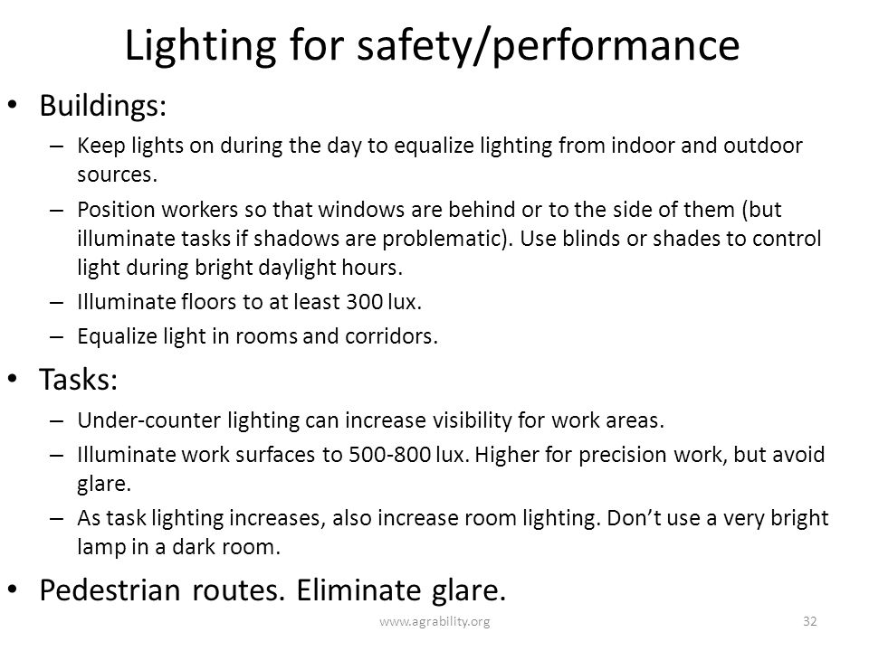 Lighting for safety/performance
