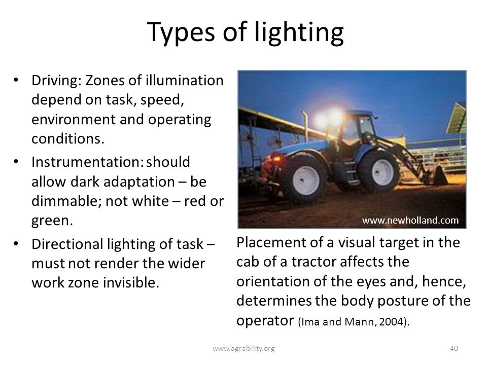 Types of lighting Driving: Zones of illumination depend on task, speed, environment and operating conditions.