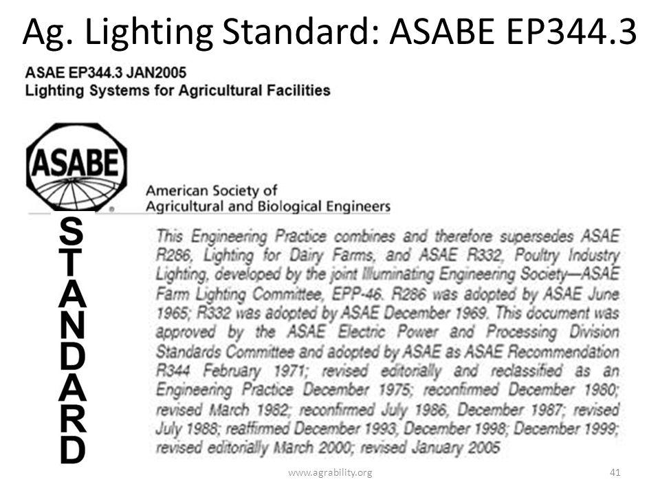 Ag. Lighting Standard: ASABE EP344.3