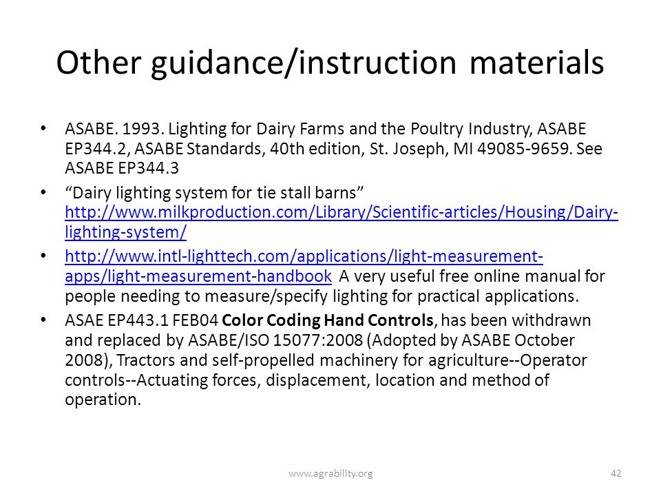 Other guidance/instruction materials