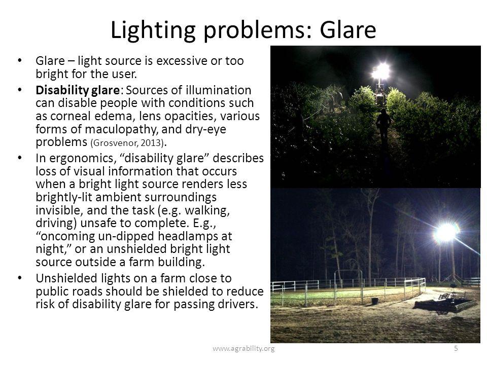 Lighting problems: Glare