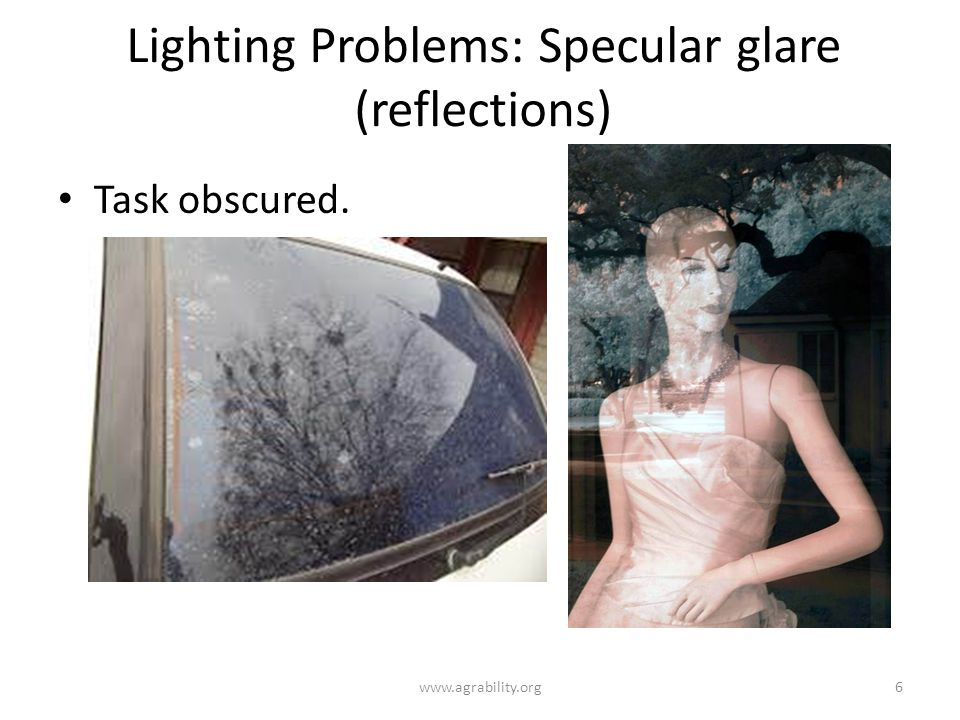 Lighting Problems: Specular glare (reflections)