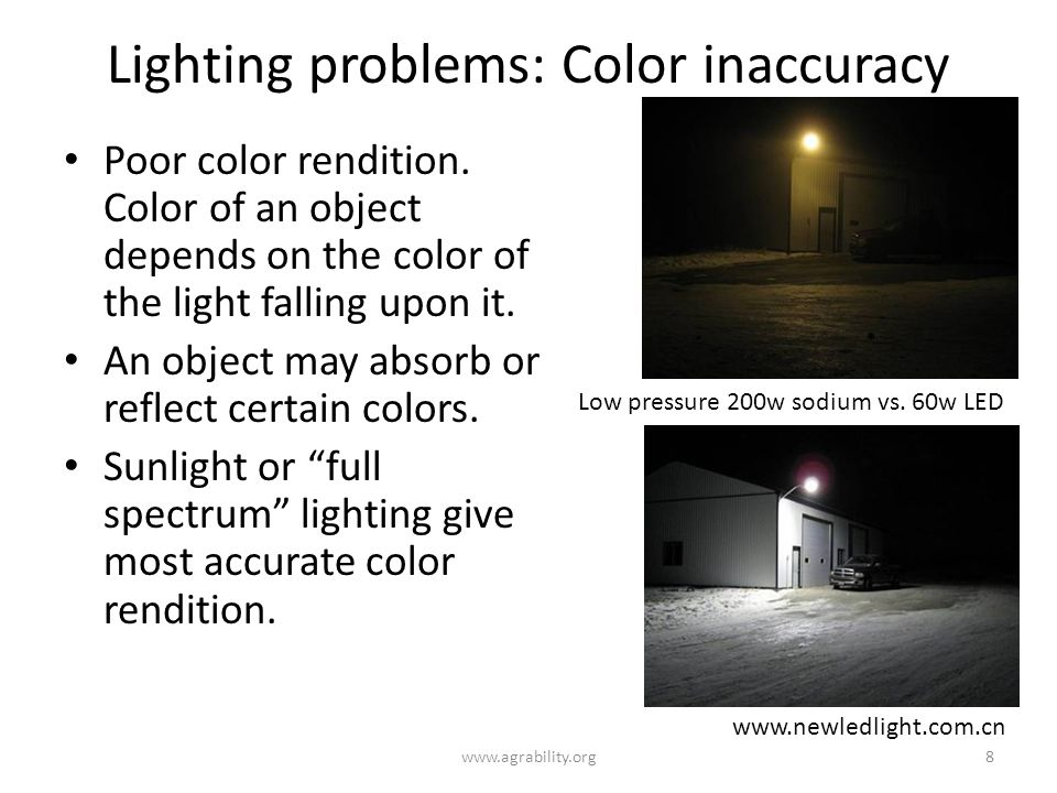 Lighting problems: Color inaccuracy