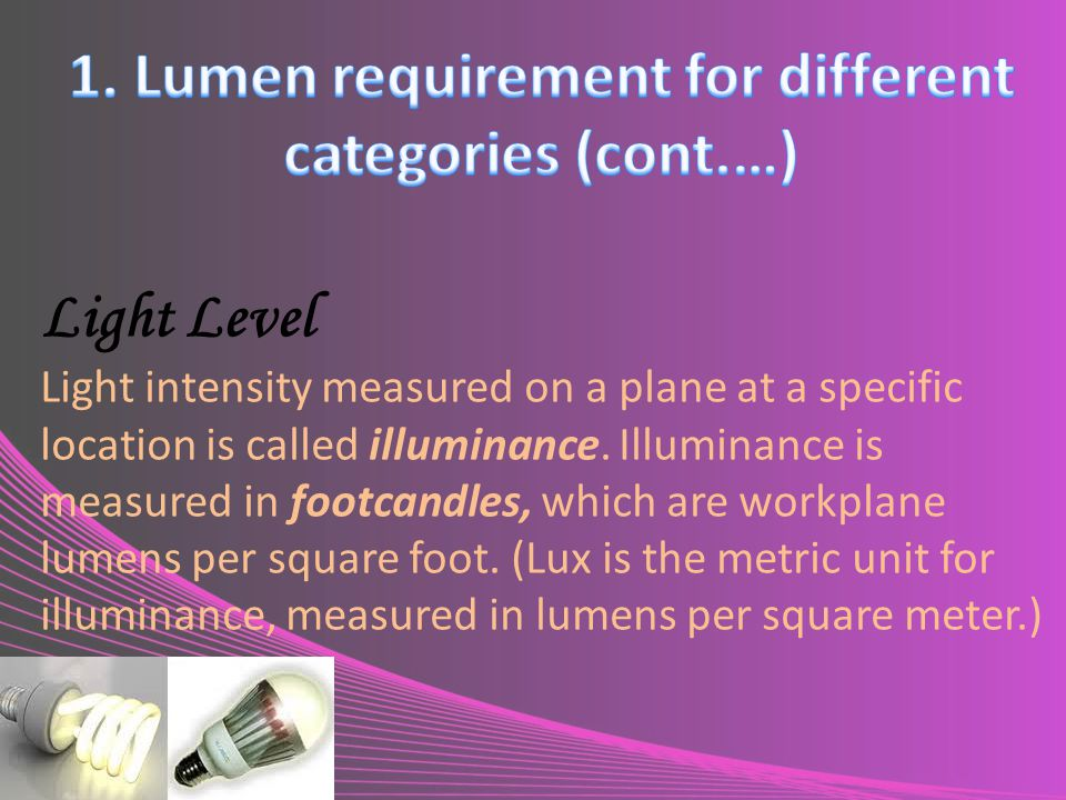 1. Lumen requirement for different categories (cont.…)