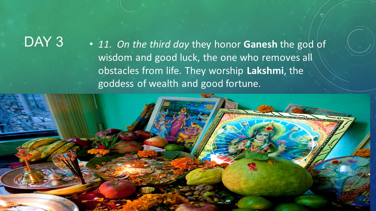 11. On the third day they honor Ganesh the god of wisdom and good luck, the one who removes all obstacles from life. They worship Lakshmi, the goddess of wealth and good fortune.