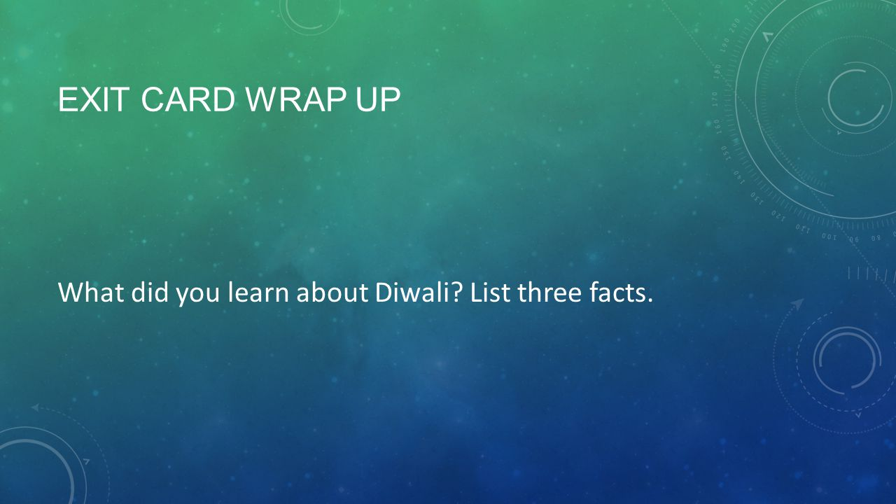 Exit Card Wrap up What did you learn about Diwali List three facts.