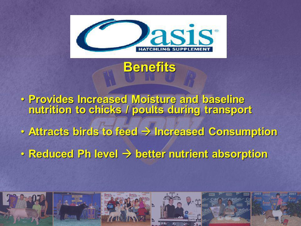 Benefits Provides Increased Moisture and baseline nutrition to chicks / poults during transport. Attracts birds to feed  Increased Consumption.