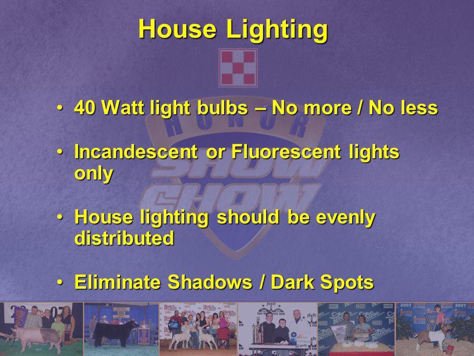 House Lighting 40 Watt light bulbs – No more / No less