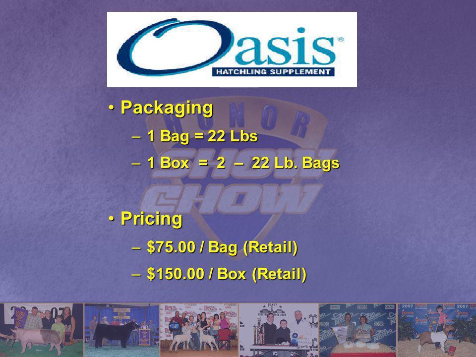 Packaging Pricing 1 Bag = 22 Lbs 1 Box = 2 – 22 Lb. Bags