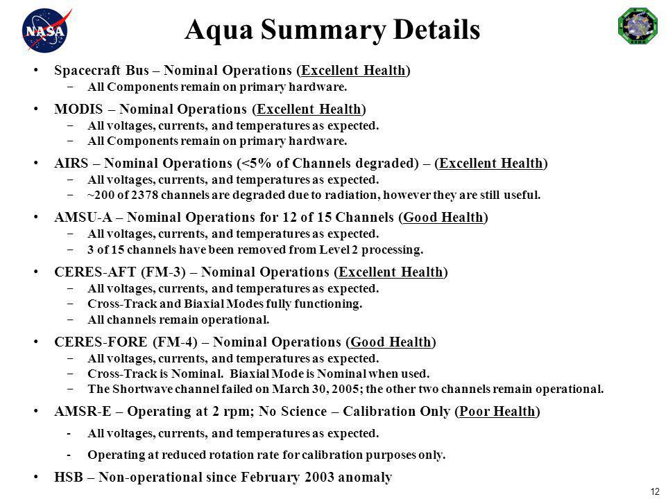 Aqua Summary Details Spacecraft Bus – Nominal Operations (Excellent Health) All Components remain on primary hardware.