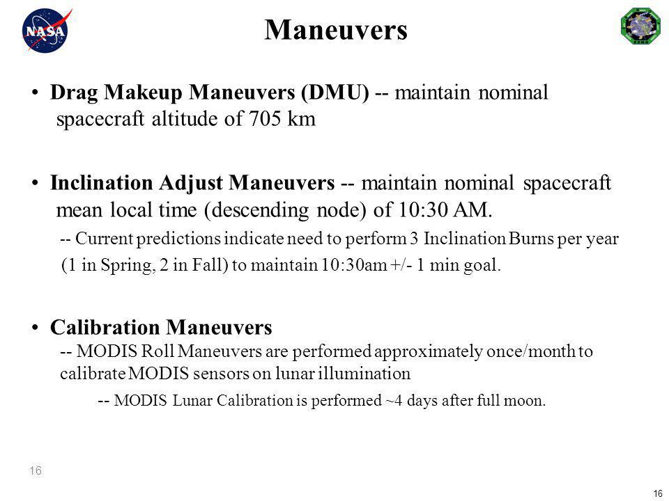 Maneuvers • Drag Makeup Maneuvers (DMU) -- maintain nominal spacecraft altitude of 705 km.