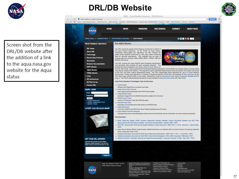DRL/DB Website Screen shot from the
