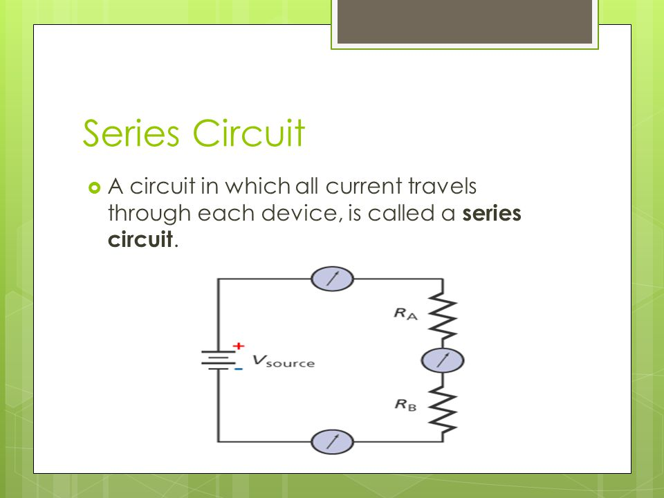 Series Circuit A circuit in which all current travels through each device, is called a series circuit.