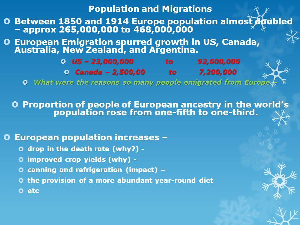 Population and Migrations