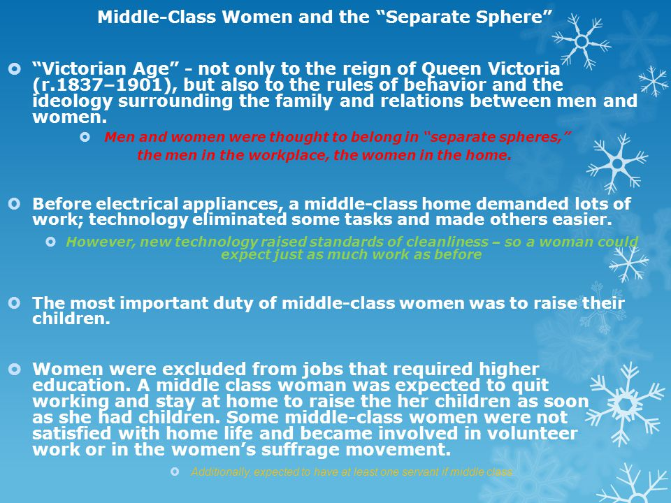 Middle-Class Women and the Separate Sphere