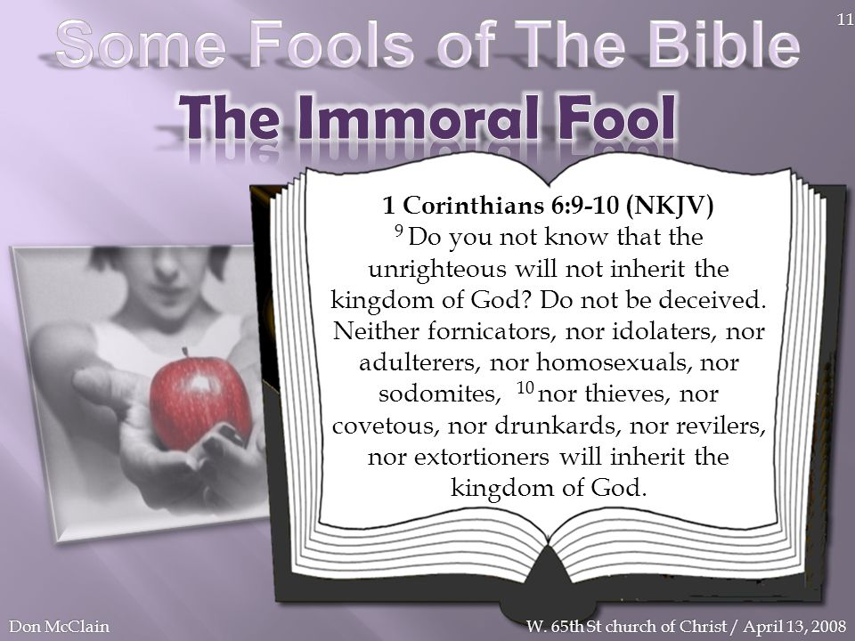 Some Fools of The Bible The Immoral Fool