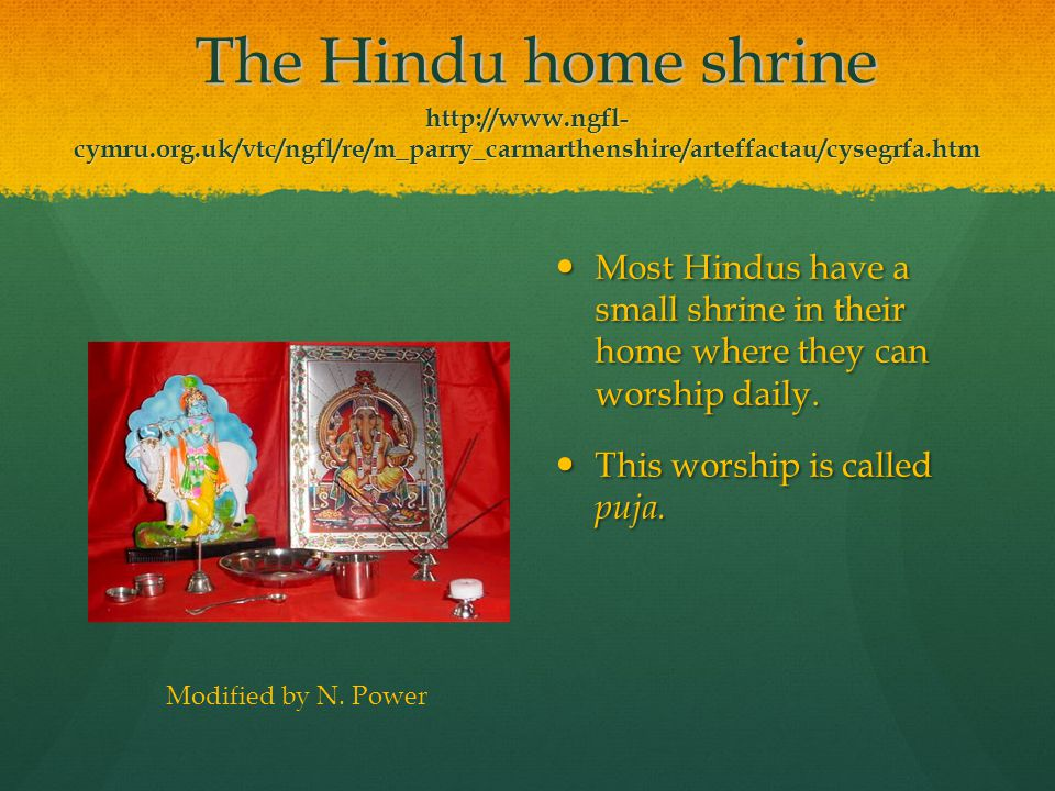The Hindu home shrine http://www. ngfl-cymru. org