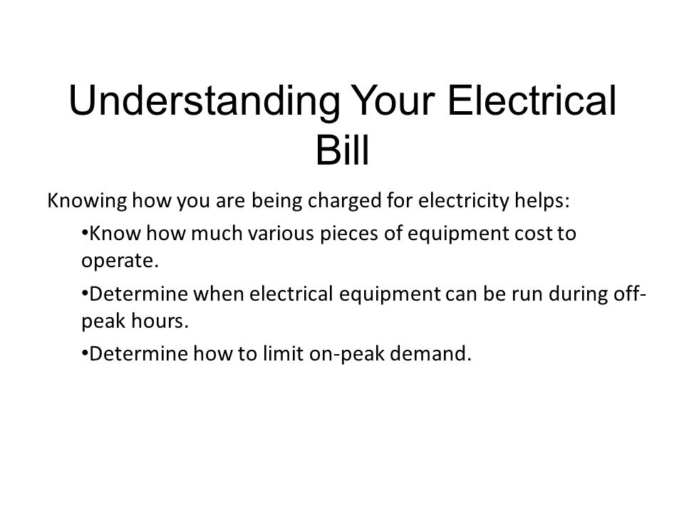 Understanding Your Electrical Bill