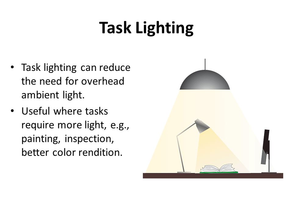 Task Lighting Task lighting can reduce the need for overhead ambient light.