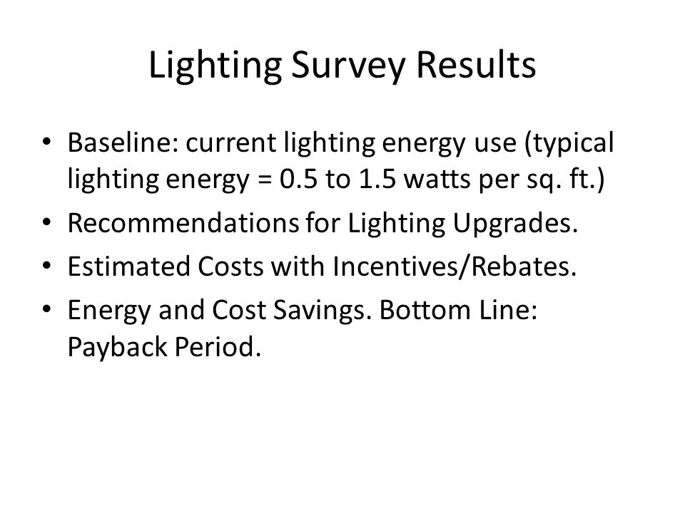 Lighting Survey Results