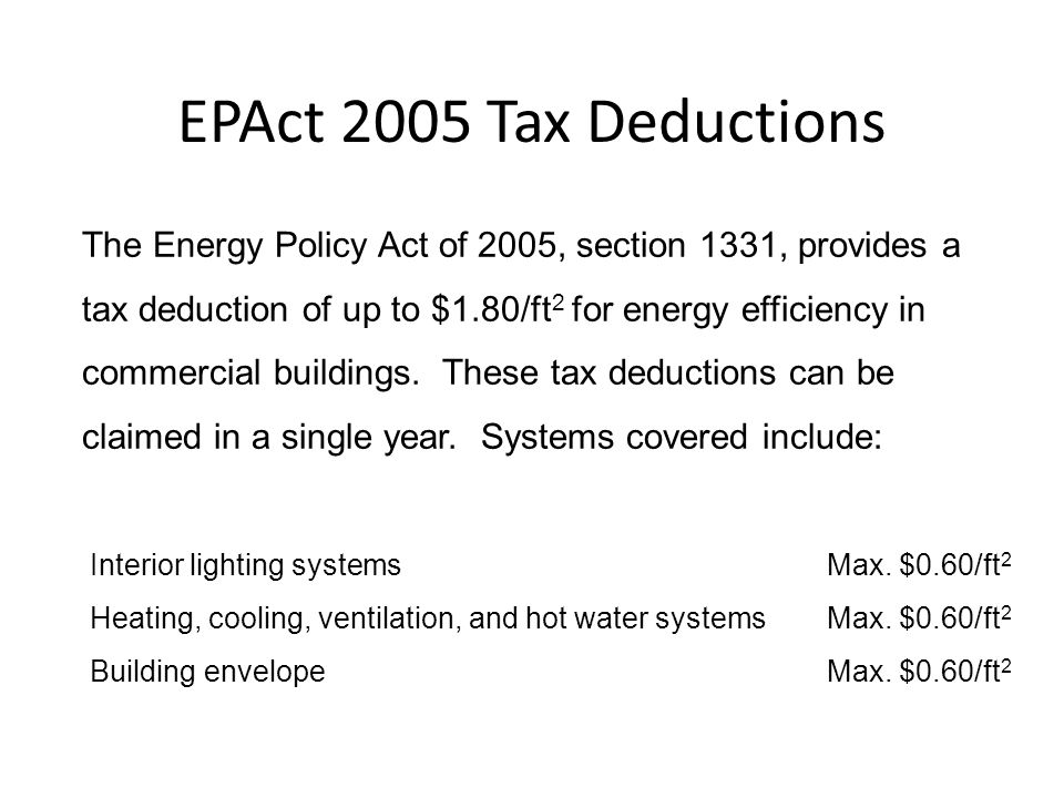 EPAct 2005 Tax Deductions