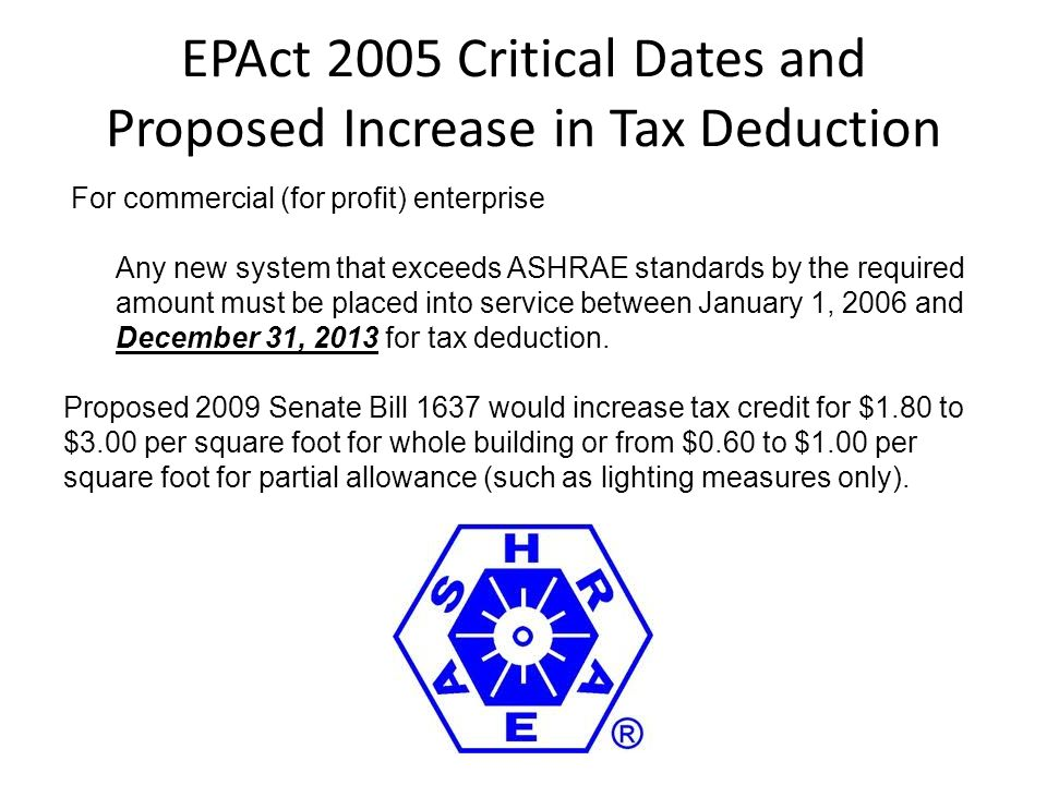 EPAct 2005 Critical Dates and Proposed Increase in Tax Deduction